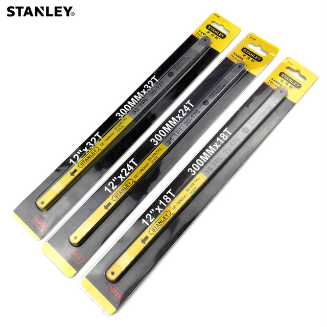 Stanley 10pcs 12-inch 18T 24T 32T bi-metal HSS saw blade 300mm hand hacksaw blades saw replacement cutter for metal wood cutting 1
