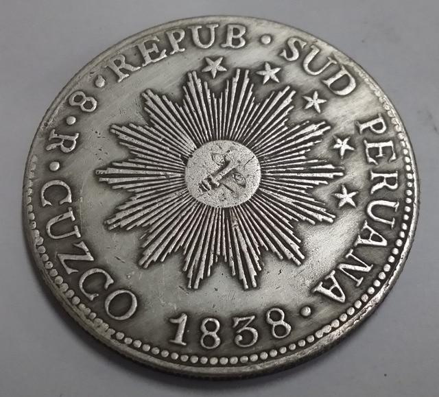 1838 Peru Ms 8 Reales South Silber Münze In 1838 Peru Ms 8 Reales