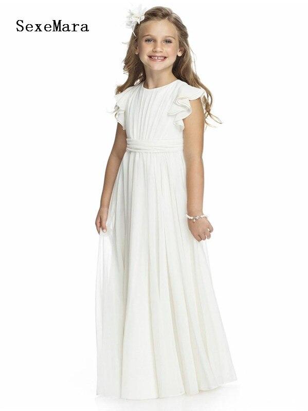New Ivory White Chiffon   Flower     Girls     Dress   for Wedding O Neck Soft Material   Girls   Birthday   Dress   Communion Gown Any Size