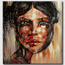 Big oil painting on canvas with palette knife oil painting portrait textured wall art for living room decoration