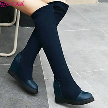 QUTAA PU leather+Scrub Wedge High Heel Slip On Over The Knee Boots Women Shoe Motorcycle Boots Riding Boots size 34-39