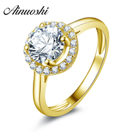 AINUOSHI 10k Solid Yellow Gold Wedding Ring 1.25 ct Round Cut Glorious Simulated Diamond Band Simple Style Halo Women Gold Rings