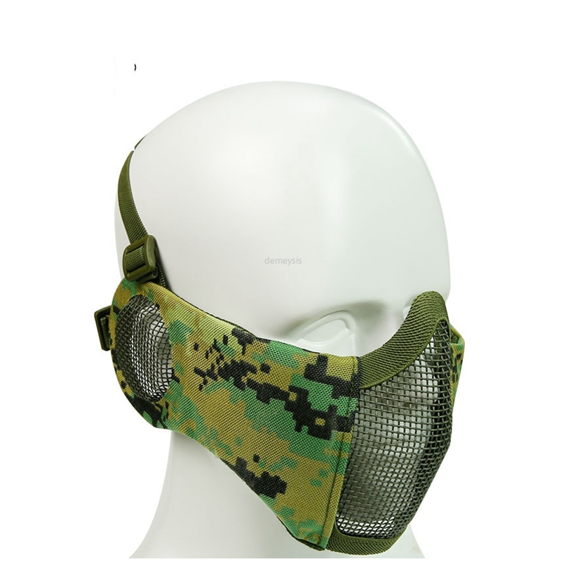 Tactical Half Face Mesh Mask Metal Steel Face Guard Camouflage Mask Cover For Airsoft Hunting With Ear Protection Half Face Mask