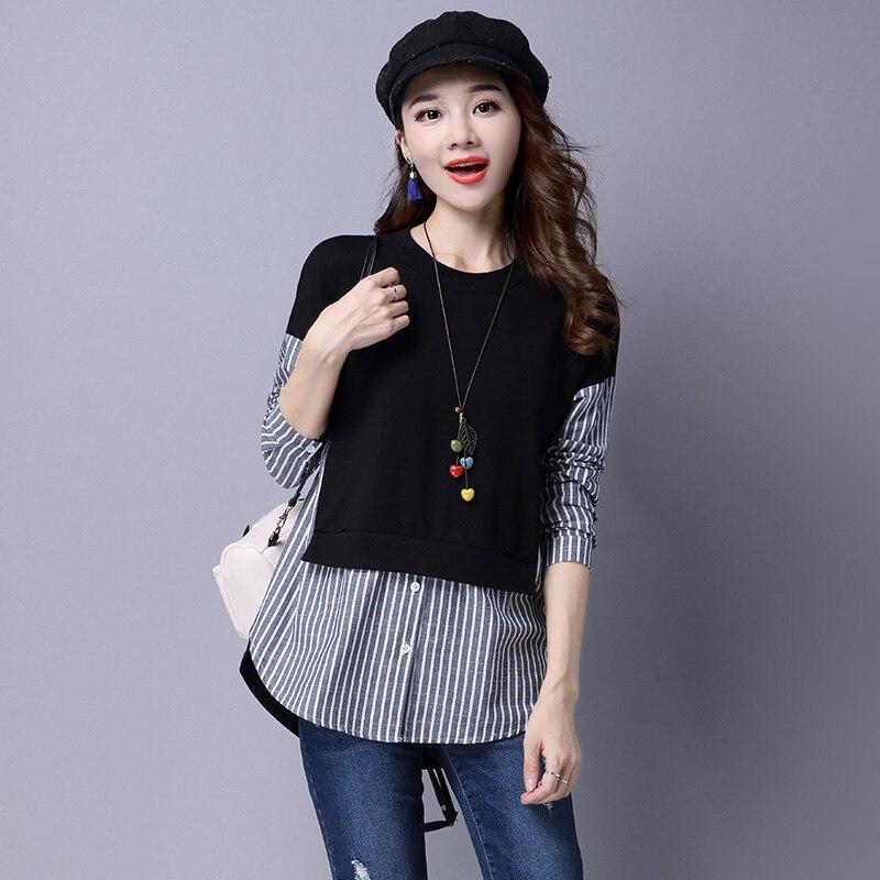 2018 Autumn Vintage Striped Shirt Women Tops Fashion Loose O neck Plus Size Long Sleeve Women