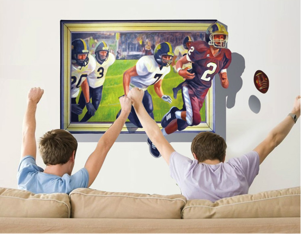 Art Fashion Design Home Decoration Fashion Creative Unique Rugby Football 3d Wall Sticker Removable Home Decor