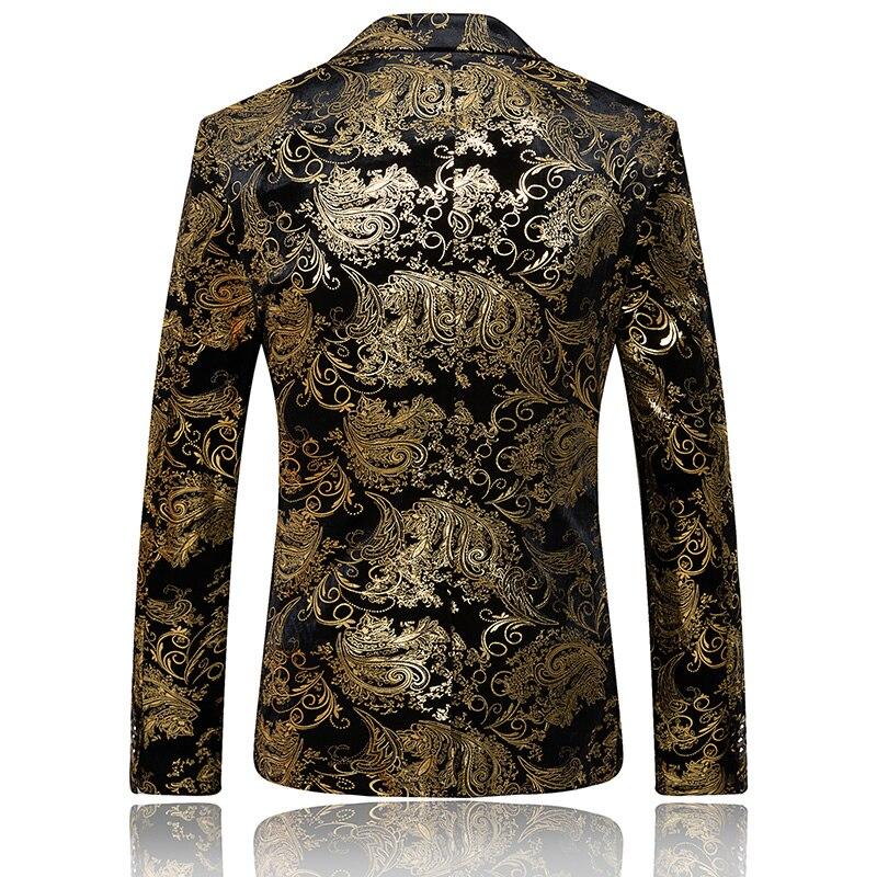 MOGU Goud Gedrukt Blazer Mannen Bloemen Casual Mannelijke Blazer 2017 Lente nieuwe Collectie Mode mannen Blazer Slim Fit Plus Aziatische Size 6XL-in Blazers van Mannenkleding op  Groep 2