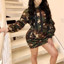 Women's Summer Sexy Club Camo Hoodie Sweatshirt Dress Camouflage Long Sleeve Loose Casual Mini Dress With Pocktes S-XL WNY
