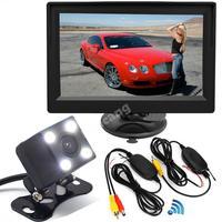 Wireless 5 TFT LCD Backup Rear View Monitor +Vehicle 4 IR LEDs Waterproof Night Vision Reversing Reverse Camera