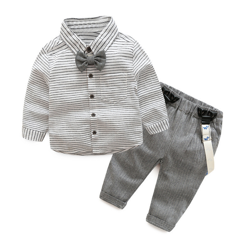 Baby Boy Clothes 2PCS Sets Boy Clothing BOBO Striped Bow Shirts With cotton Overalls Kids Boy Spring Casual Outfits baby clothes