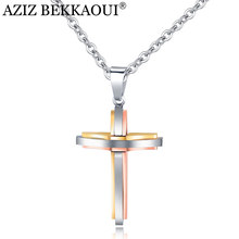 AZIZ BEKKAOUI Unique Stainless Steel Cross Pendant Necklaces For Women Men Vintage Long Chain Necklace Christian Jewelry Gift(China)