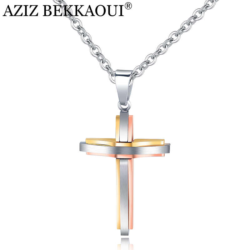AZIZ BEKKAOUI Unique Stainless Steel Cross Pendant Necklaces For Women Men Vintage Long Chain Necklace Christian Jewelry Gift