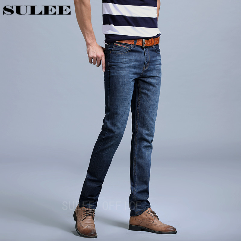 SULEE Brand Autumn winter Hot Sale Mens Business Jeans Classic Leisure Solid Jeans Straight pants High Quality Plus Size