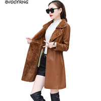 Spring Autumn Women Leather Jacket High End PU Leather Coats Thick Lambs Wool Long Coat Slim