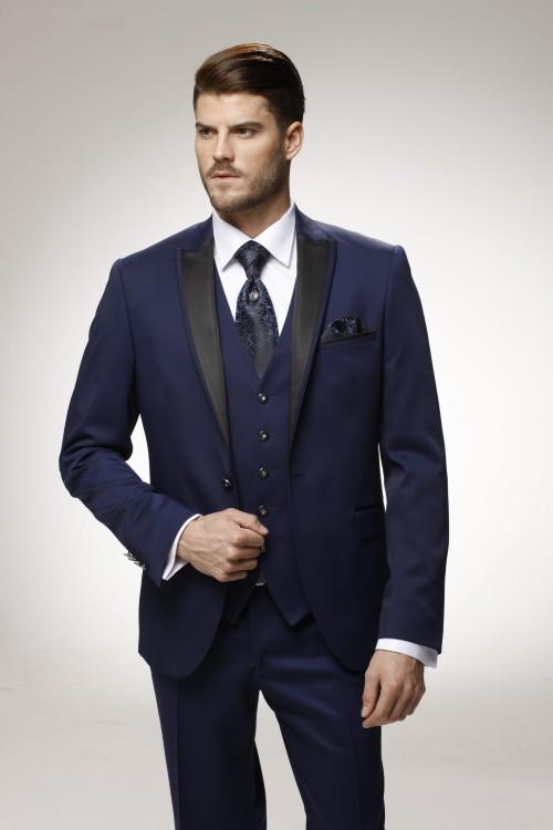 Custom Made Groom Tuxedo Navy Blue Groomsmen Peak Lapel Wedding/Dinner Suits Best Man Bridegroom (Jacket+Pants+Tie+Vest) B500