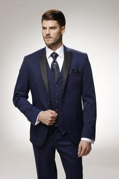 Custom Made Groom Tuxedo Navy Blue Groomsmen Peak Lapel Wedding/Dinner Suits Best Man Bridegroom (Jacket+Pants+Tie+Vest) B500