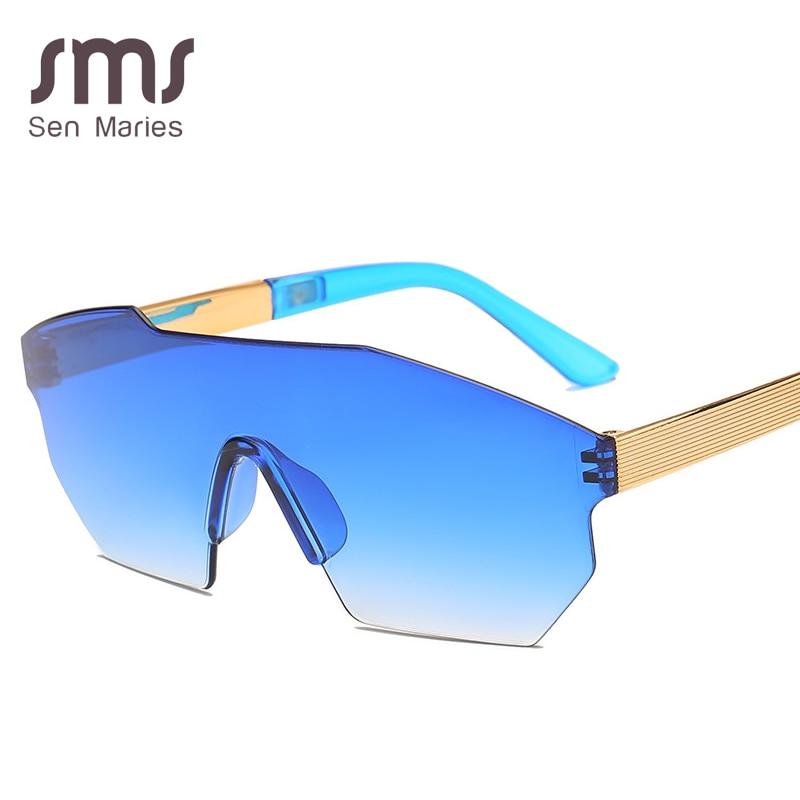 New Oversized Frame Irregular Sunglasses Women 2019 Blue Pink Gradient Frameless Sun Glasses Male Ladies Eyewear Oculos UV400