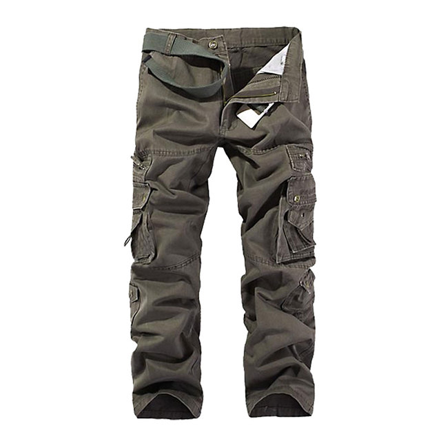 New 2017 Summer Men Stylish Multi Pocket Cargo Pants Casual Military Overall Loose Male Straight Long Trousers 5 Colors