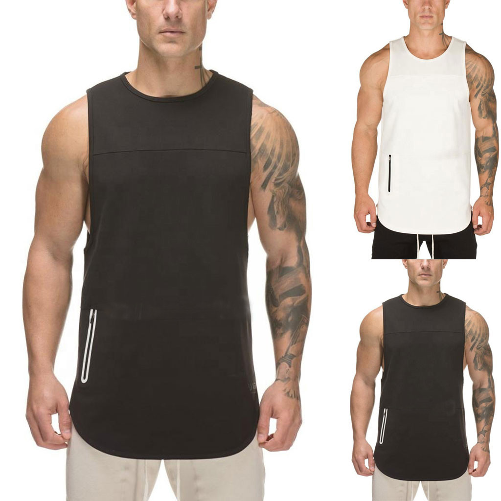 2019 men's Sports Vest Singlets   Tank     Tops   Gym   Tank     Tops   Low Cut Side Holes Racer-cut Back Vest Men' Gym   Tank     Tops   clothes
