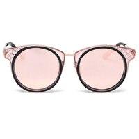 Cuerno Borde Redondo Remache de La Manera de Las Mujeres Lentes de Espejo gafas de SOL de Diseñador Marco de Acetato y Metal S1996 Gafas de Sol Estilo Coreano