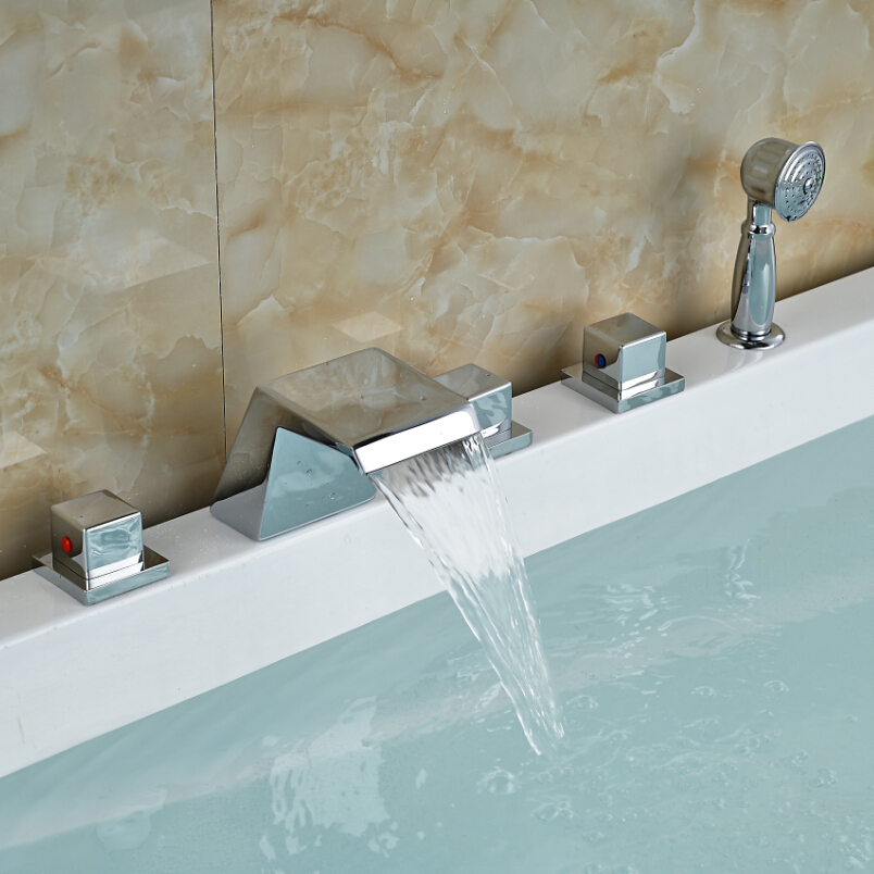 2016 New Arrival Bathroom Bathtub Mixer Faucet with Triple Handle Deck Mounted Chrome Finish brand new deck mounted chrome single handle bathroom