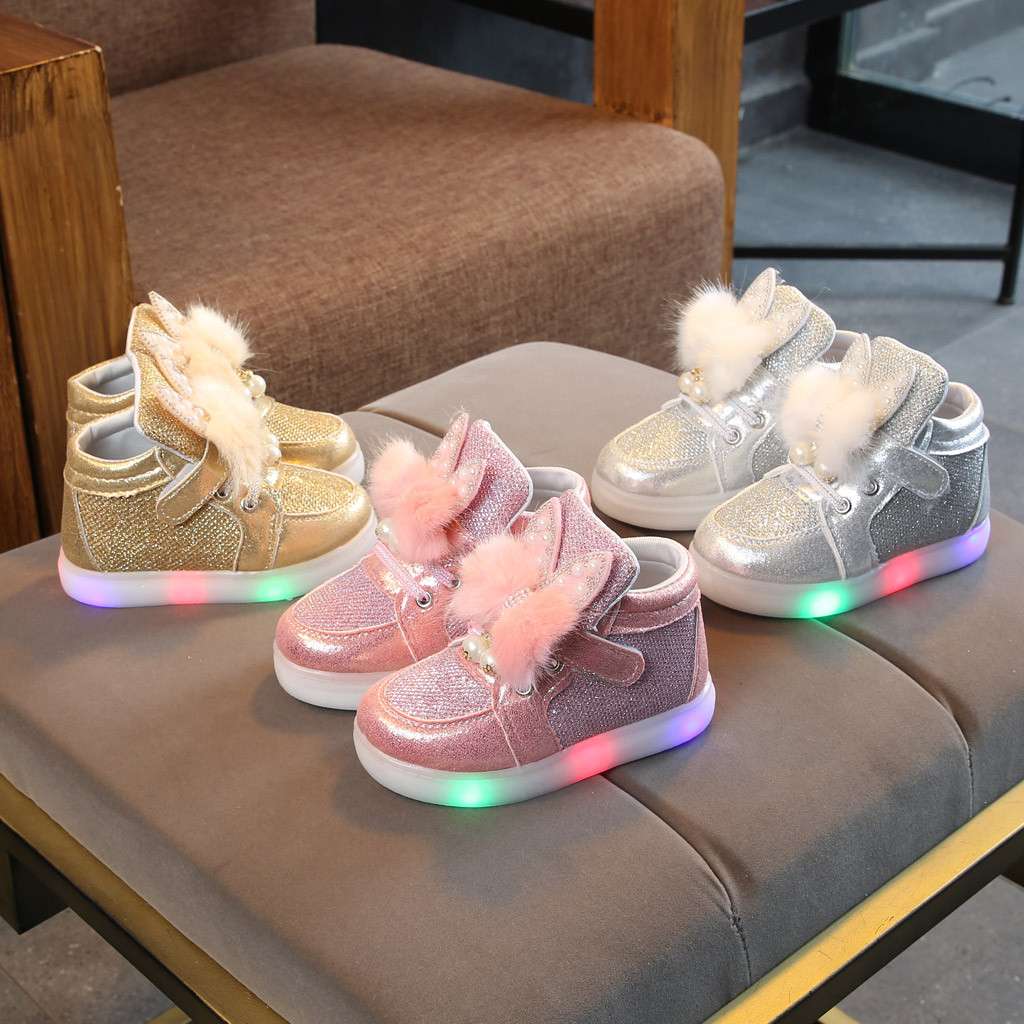 Children Shoes Baby Shoe For Girls Casual Fashion Cute Shoes Cartoon Rabbit Non-Slip LED Luminous Sport Shoes Sneakers HOOLER