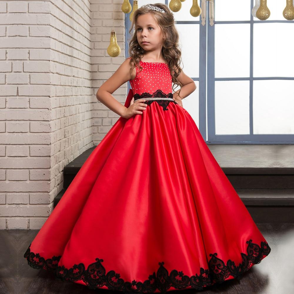 De noël Fantaisie Fleur Fille Robe Étage Longueur Bouton Drapé Rouge sans manches En Satin tissu Robes De Bal pour Enfants Glitz 0-14Y