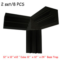 2Set/8PCS Acoustic Foam Corner 12''x 12''x12 ''Cube 12'' x 12'' x 24'' Bass Trap Put on the Corner Wall