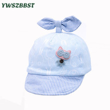 2019 New Spring Summer Baby Hat Cotton Children Sun Bowknot Striped Soft Eaves Baseball Cap Boy Girls