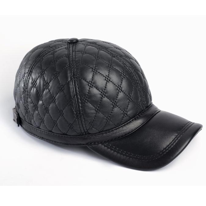 leather baseball cap with fur pom wholesale black sheep skin hat fashion quality winter men women faux