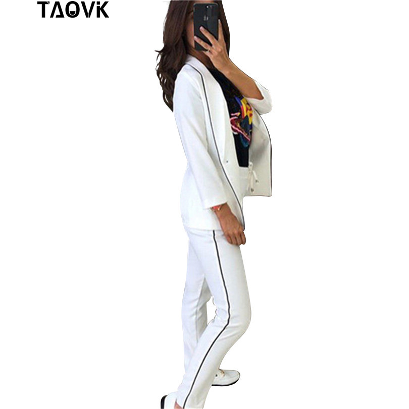 TAOVK Chic Skinny Cut Out Pant Suits OL Workwear Women's Sets Single Button Blazer Jacket+ Pant 2 Piece Set female spring suit