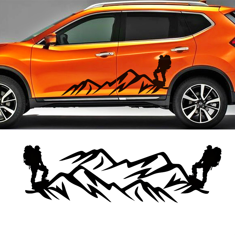 Cool extreme sport mountain climbers on the mountaintop car sticker for nissan x trail suv door accessories decal in car stickers from automobiles