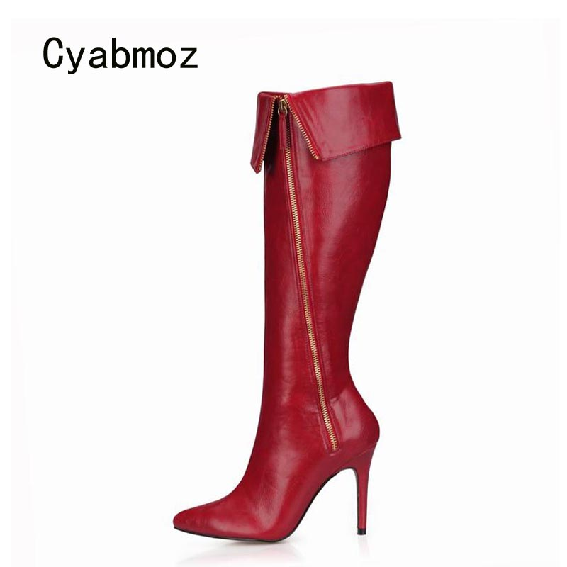 Cyabmoz Sexy Winter Boots Knee High Heels Women Shoes Woman Zapatillas Botas Zapatos Mujer Zip Ladies Party Dress Wedding Shoes