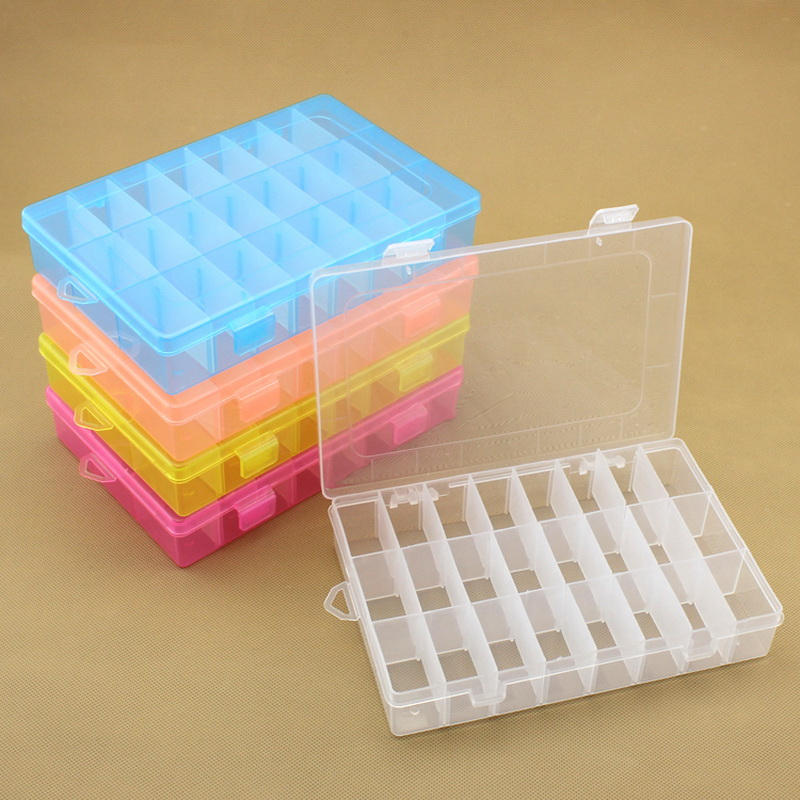24 Grid Tool Box 190*130*36mm Adjustable Colorful Plastic Storage Box For Portable Jewelry Storage Electronic Parts Screws Case