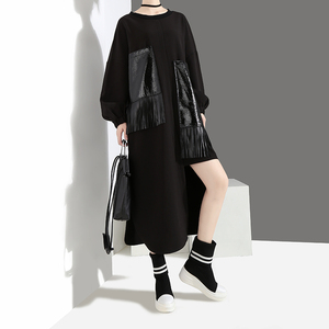 Image 5 - 2020 Women Autumn Winter Casual Big Size Black Dress Long Sleeve PU Pocket Fringes Ladies Unique Dress Loose Style vestidos 4029