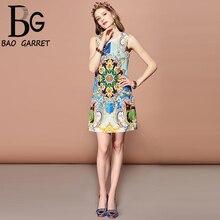 Baogarret Fashion Runway Summer Dress Womens Sleeveless Gorgeous Print Crystal Beading Mini Elegant Vintage