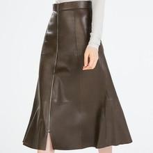 PU Black Skirts Womens Autumn Winter UK Plus Big Size Woman A-Line High Waist Skirt Midi Long Leather Skirt