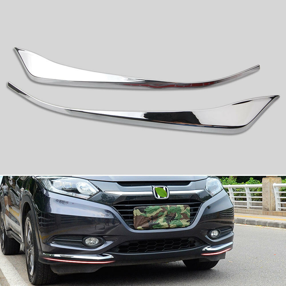 2pcs ABS Chrome Front Bumper Corner Cover Trim Garnish Protector Decorative Fit For <font><b>Honda</b></font> HR-V <font><b>HRV</b></font> 2014-2018 <font><b>Accessories</b></font> image