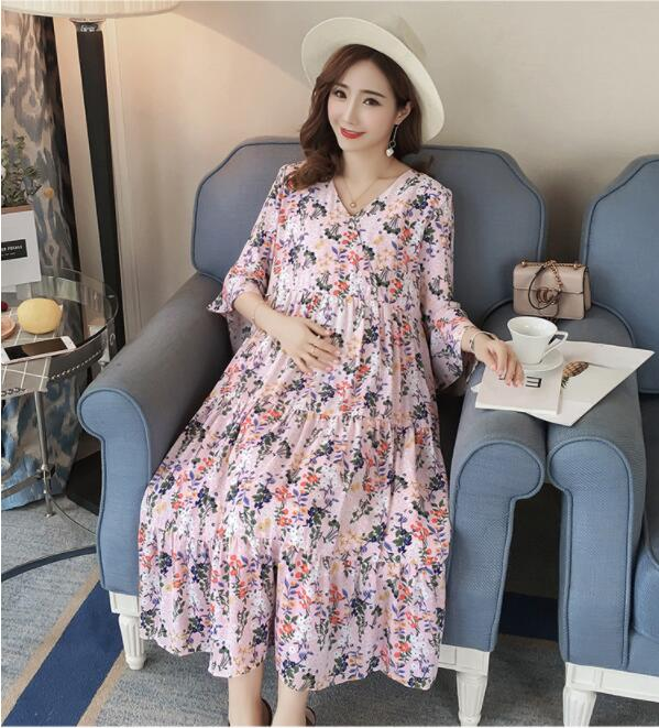 Maternity Clothes New Summer Sleeveless small flower Chiffon Dress Maternity Cloth Tops Pregnancy Clothes for Pregnant Women