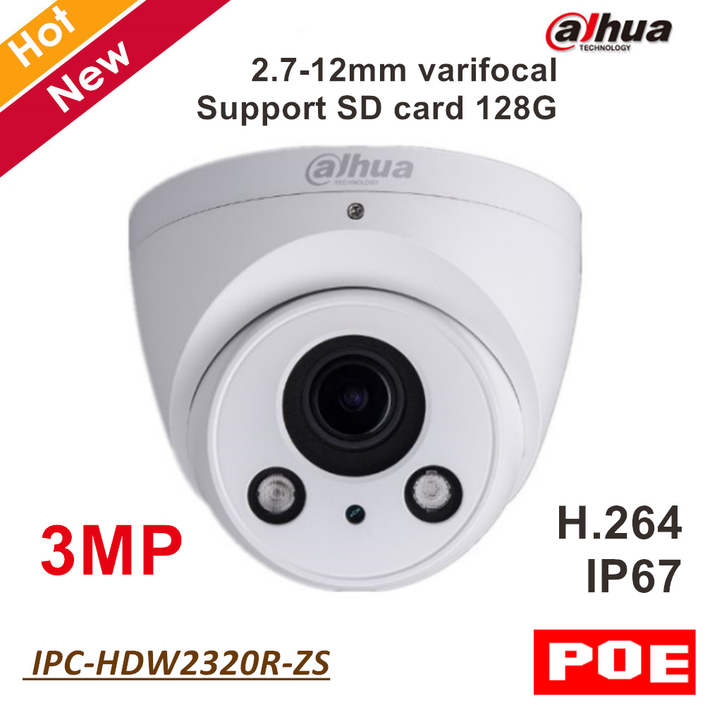 Dahua English IP Camera IPC-HDW2320R-ZS 3MP IR Eyeball Network Security Camera Support POE and SD card 2.7-12mm varifocal lens sunell e3un vandalproof 2mp network ip dome poe camera varifocal 2 8 12mm lens security camera sd card slot onvif no ir led