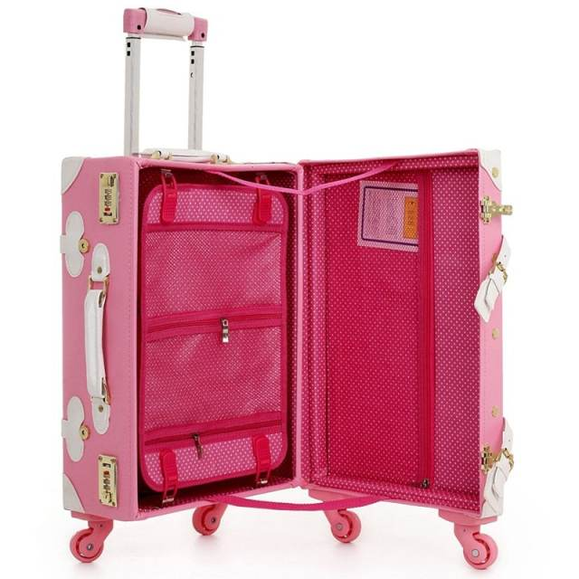 036e603835b2 Women Vintage Trolley Luggage Travel Bag Hello Kitty Luggage Universal  Wheels Luggage Sets Travel Suitcase 20