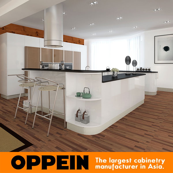 Tailand Project Modern Cabinet White Lacquer Kitchen Design Layout Op15 L27