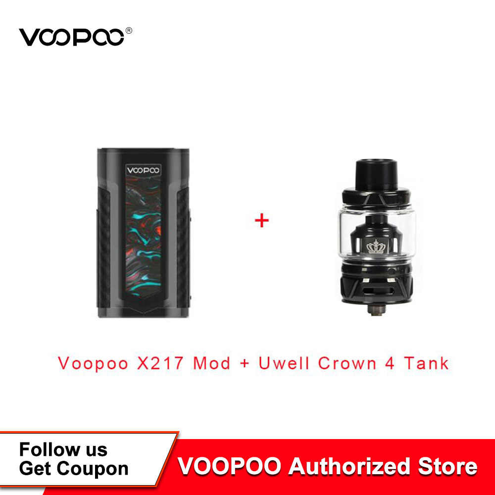 Hottest VOOPOO X217 Box Mod 217W TC Mod Electronic Cigarette Vape GENE.FAN Chip TFT IPS HD Screen Fit Uwell Crown 4 Tank