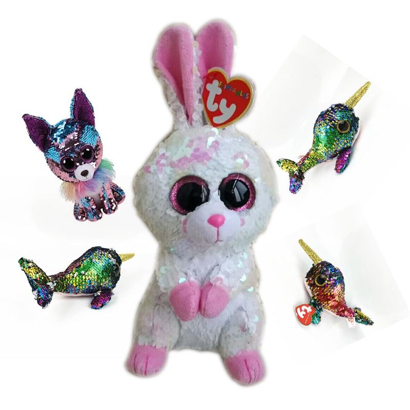 e9e784ec960 TY Beanie Boos 15cm Sequin Rabbit Unicorn Bird Dog Cat Fox Owl Fish Dragon  Plush Toys Big EyesStuffed Animal Soft Toy Kid Gift