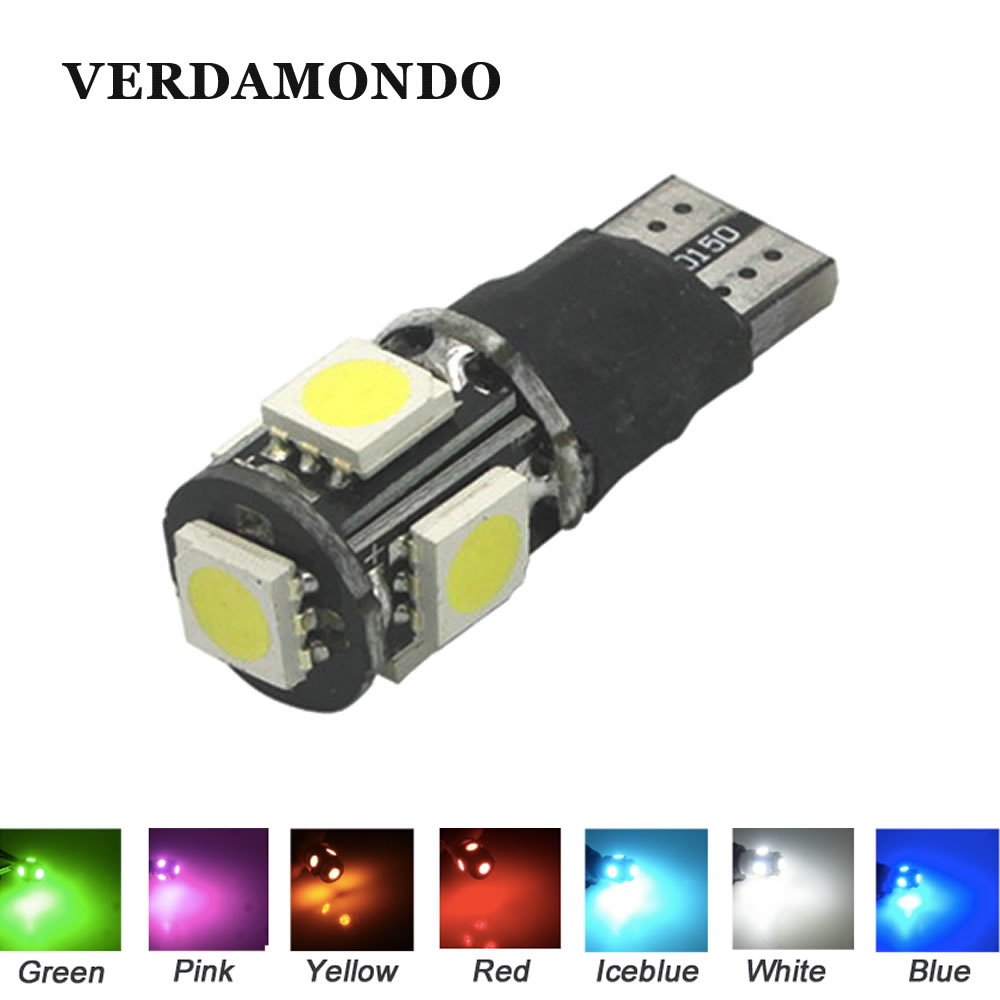 T10 W5W 5SMD 5050 Leds Fast Flashing Strobe / Always On 2 Model Car Side Marker Rear Light Lamp Bulbs 12V 7 Colors