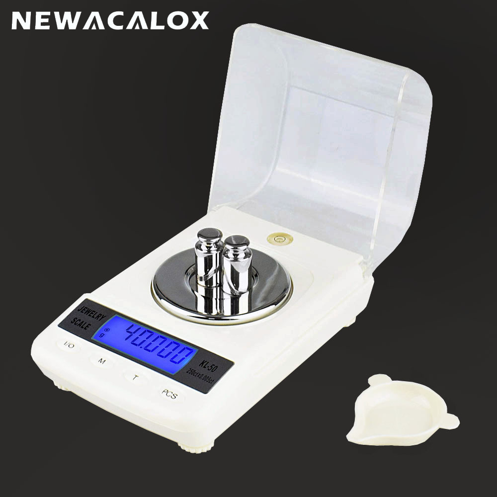 NEWACALOX 50g x 0.001g LCD Digital Jewelry Scale Precision Laboratory Balance Scale for Gold Bijoux Diamond Silver S Gram 0.001g chanseon 50g x 0 001g precision laboratory balance scale for gold bijoux diamond scale jewelry stainless steel digital scales