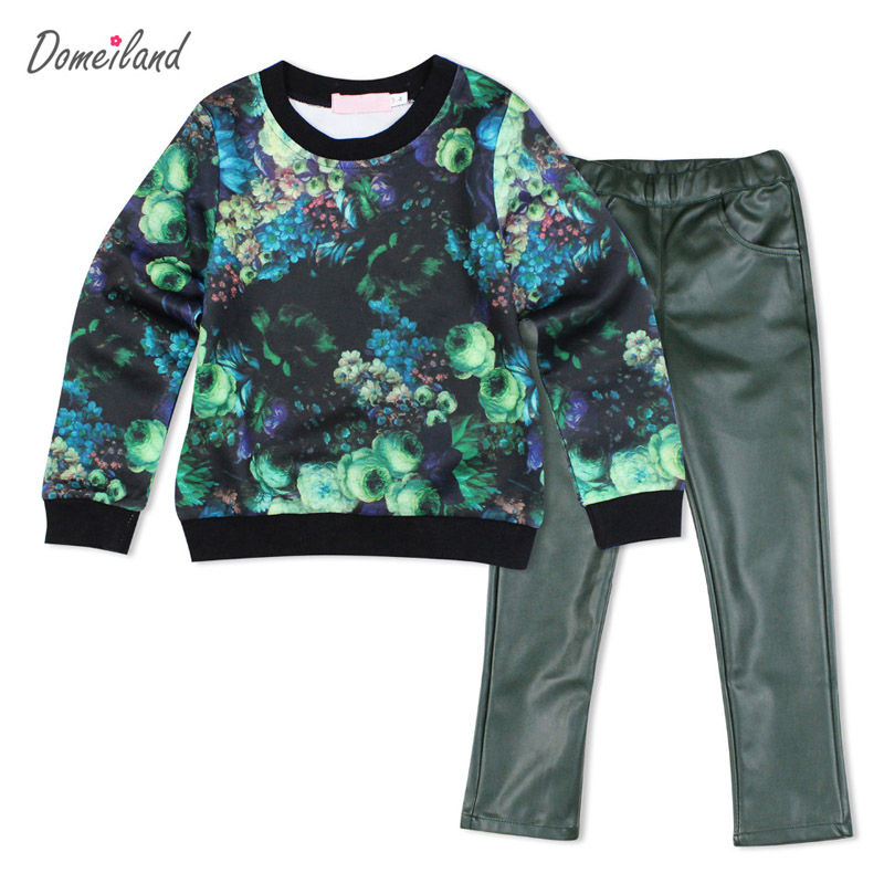 где купить 2016 Fashion kids brand domeiland clothing Outfits Sets Kids Girl Long Sleeve 3d print t shirts with pu pants clothes suits по лучшей цене