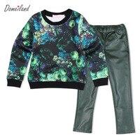 2016 capretti di Modo di marca domeiland abbigliamento Outfits Sets Bambini Ragazza Manica lunga 3d stampa t shirt con pu pantaloni vestiti abiti