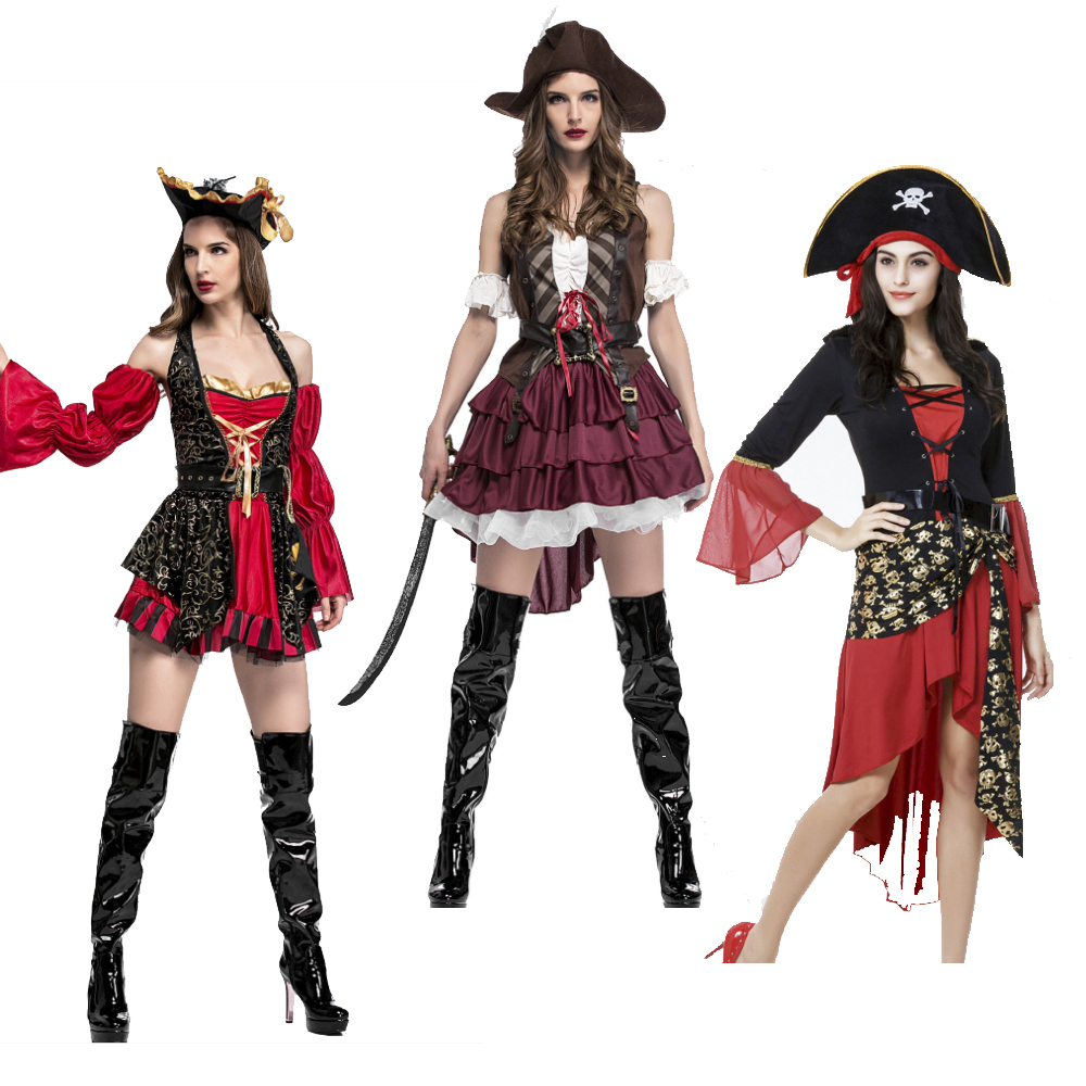 CARIBBEAN PIRATE LADY COSTUME Women/'s Wench Fancy Dress Party Outfit