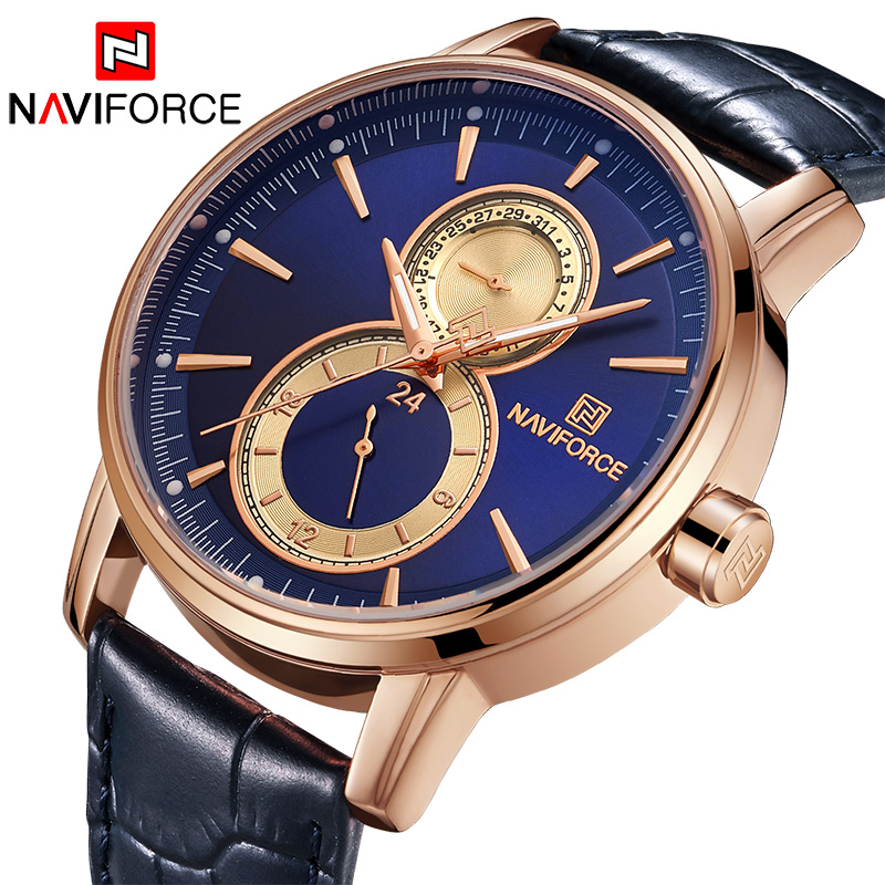NAVIFORCE New Mens Quartz Watches Top Luxury Brand Men Fashion Sports Wrist watch Analog 24 Hour Date Leather Clock Casual WatchNAVIFORCE New Mens Quartz Watches Top Luxury Brand Men Fashion Sports Wrist watch Analog 24 Hour Date Leather Clock Casual Watch