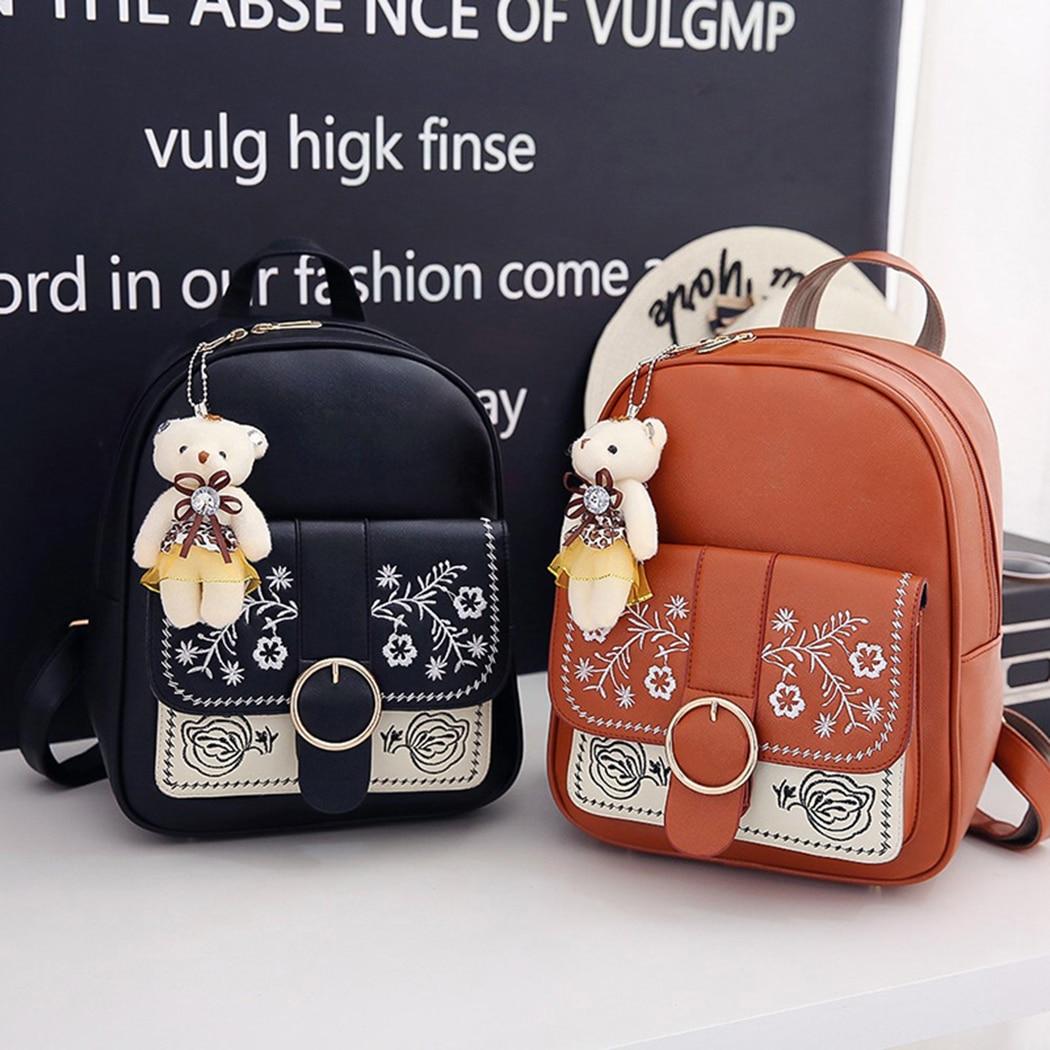 3pcs/Set Women Backpack Leather Composite Bags Backpack for Teenage Girls Female School Shoulder Bags Purse Travel Rucksack